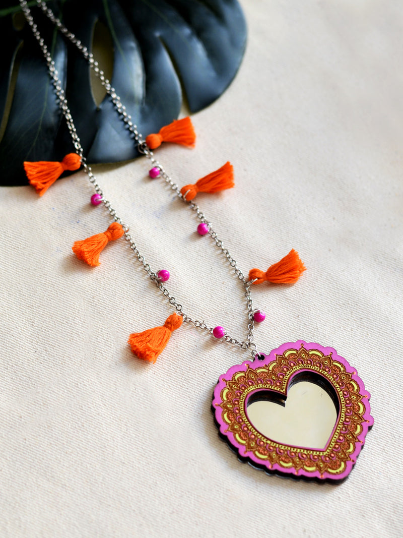 Nadia Tassel Necklace, a latest boho tassel necklace with bead detailing from our wide range of handcrafted & embroidered necklaces, tassel necklaces and gota patti chokers for women online.