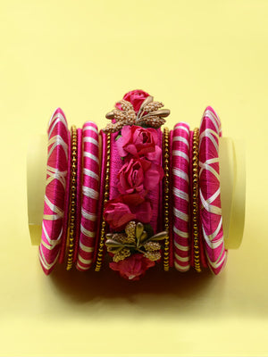 Floret Festive Bangles (Set of 15), an exclusive set of designer and hancrafted bangles from our wide range of floral, festive and hand embroidered bangles for women online.