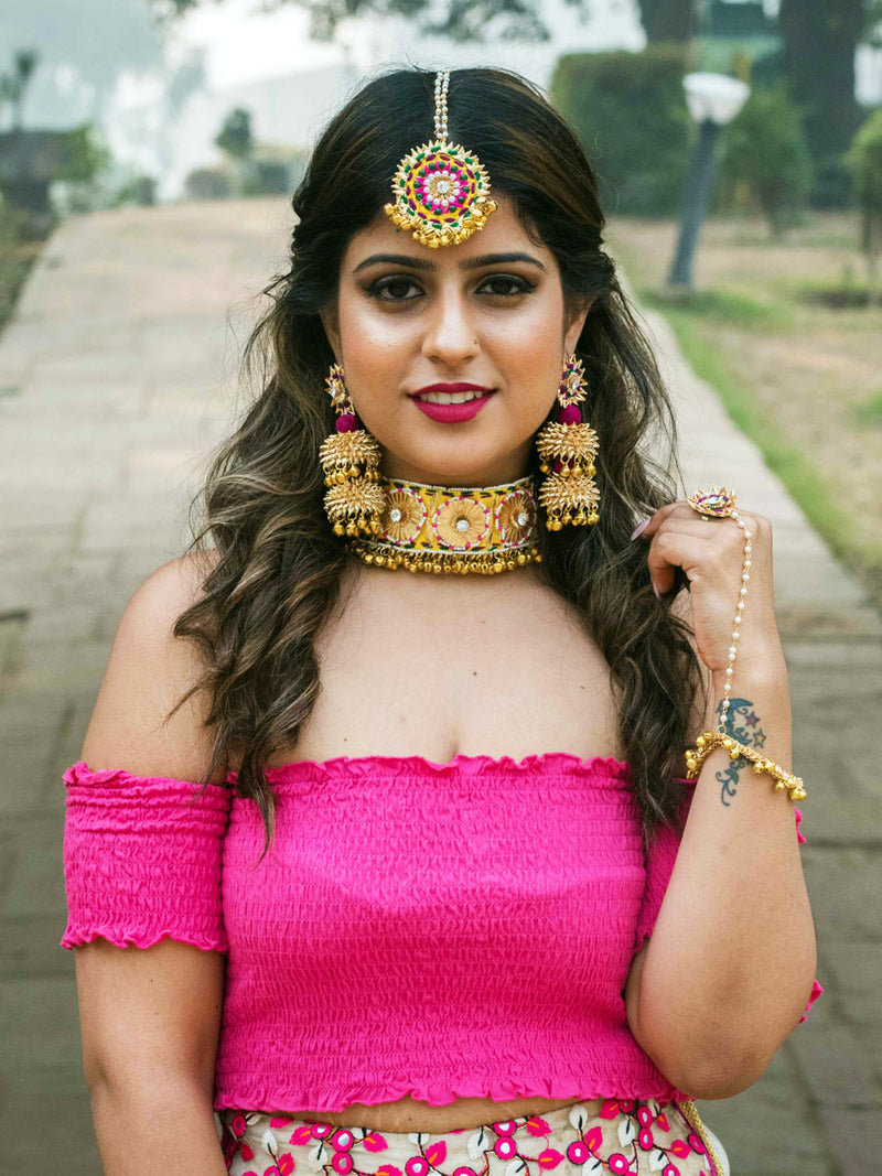Shehnai Gota Choker Set, a beautiful gota patti work choker necklace set of a necklace, maang tikka and earrings with ghungroos and beads from our festive collection for women.