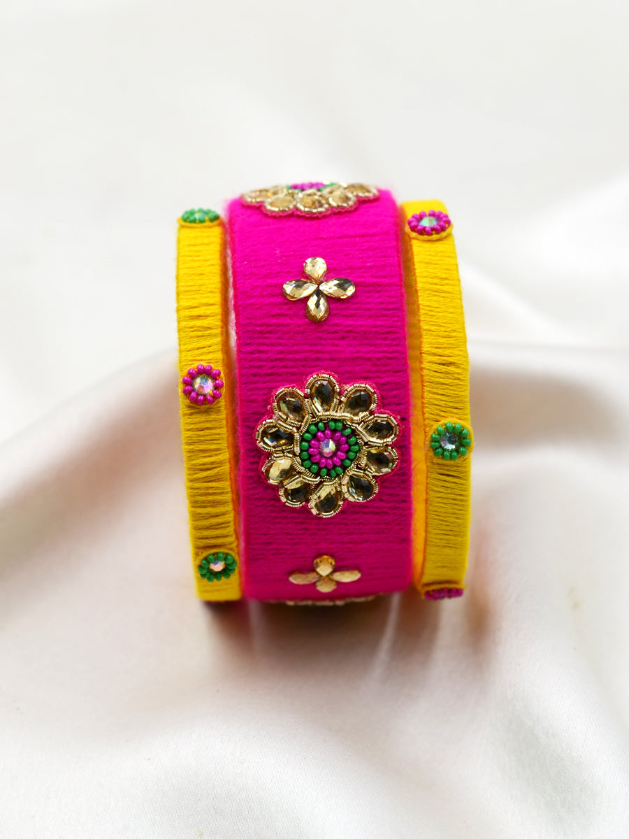 Karva Kundan Bead Bangles, a designer, handcrafted gota bangle set from our latest hand embroidered kundan bangles for women online.