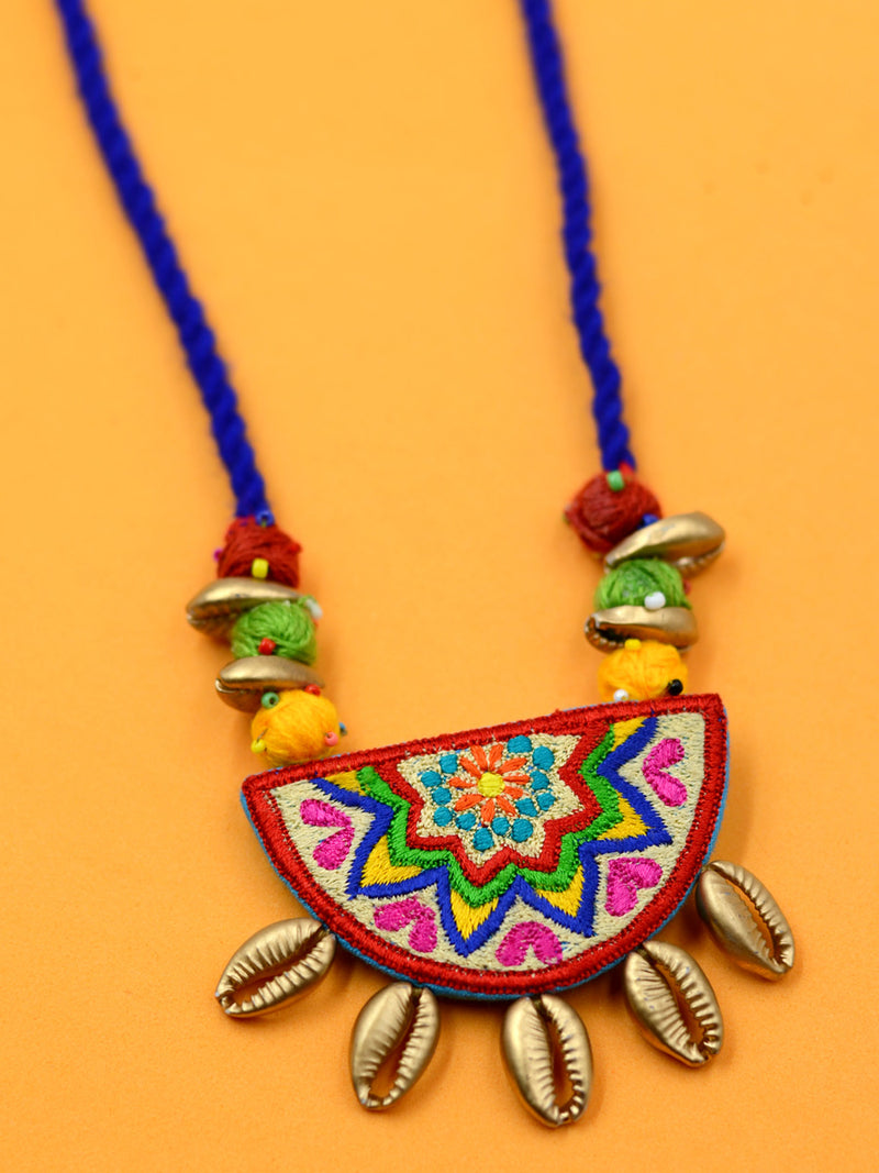 Boho Kutchy Art Necklace 41, a latest boho kutchi necklace with ghungroos and beads from our wide range of handcrafted & embroidered necklaces, tassel necklaces and gota patti chokers for women online.