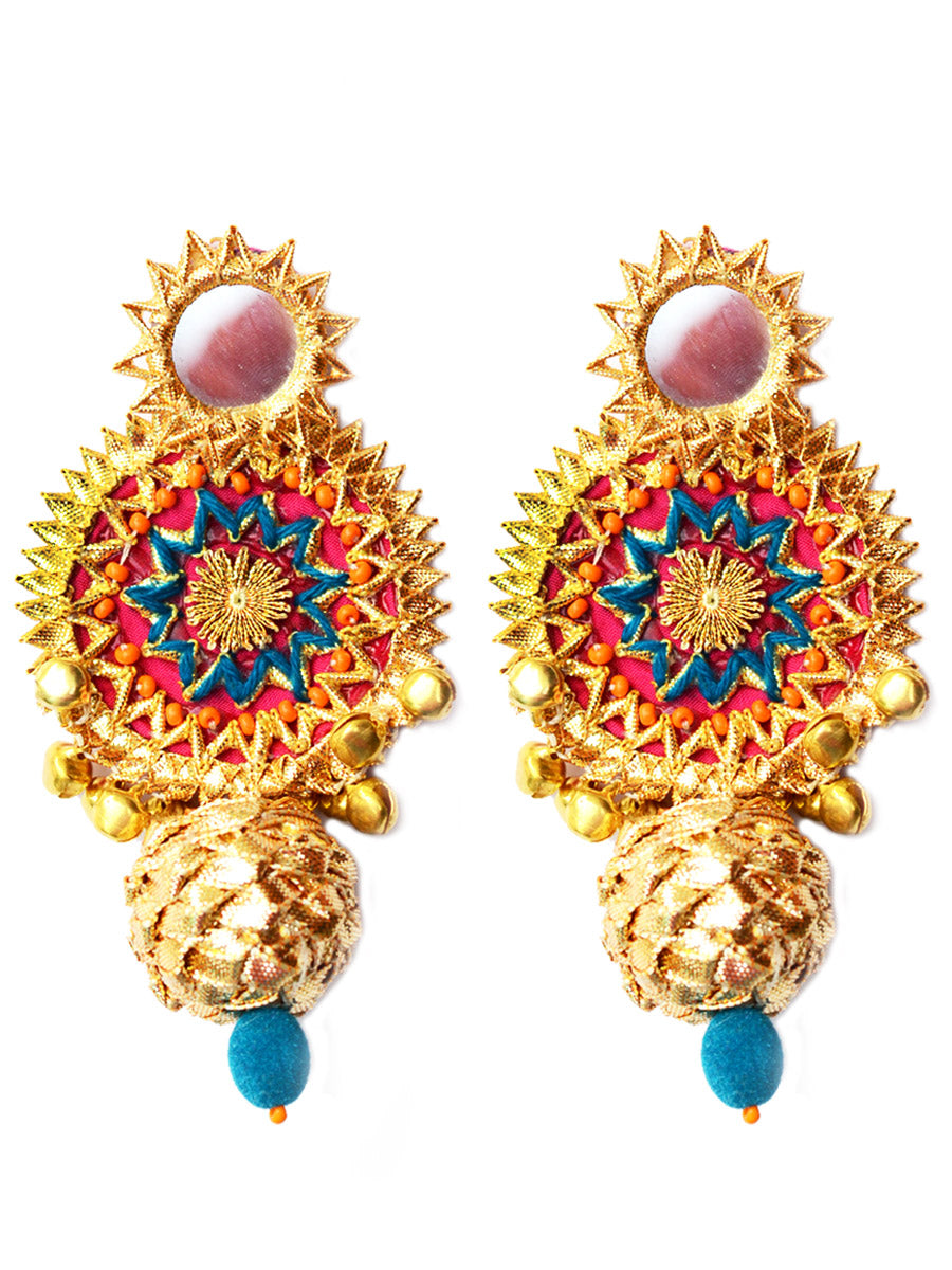 Bidayi Gota Earrings, a beautiful gota patti earrings with ghungroo and bead detailing from our designer collection of earrings for women online.