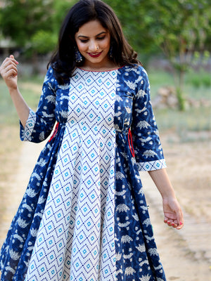 Nohra Indigo Dress, a hand embroidered ultra chic dress from our latest designer collection of boho and ethnic dresses for women.