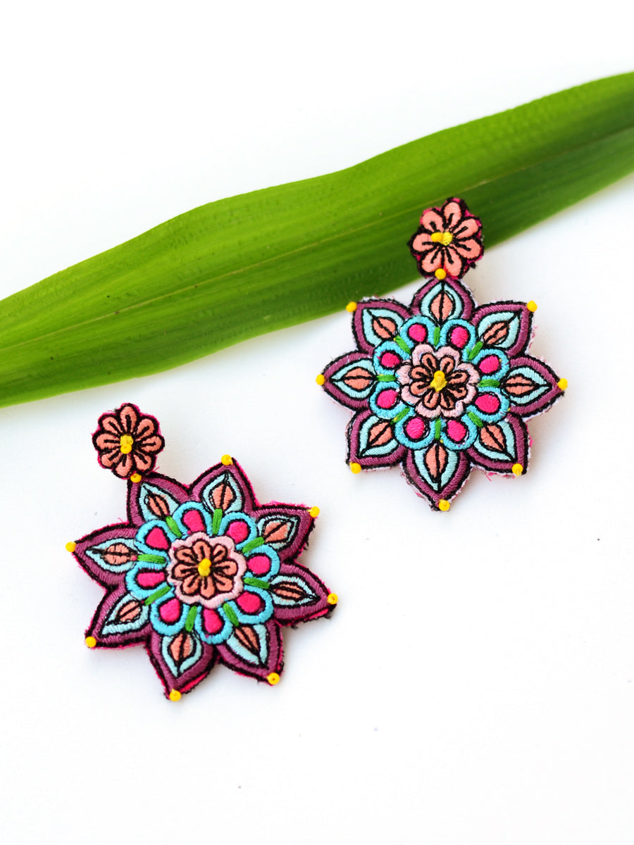 Blossom Embroidered Earrings, a beautifully hand-embroidered earring from our designer collection of quirky, boho, Kundan and tassel earrings for women online.