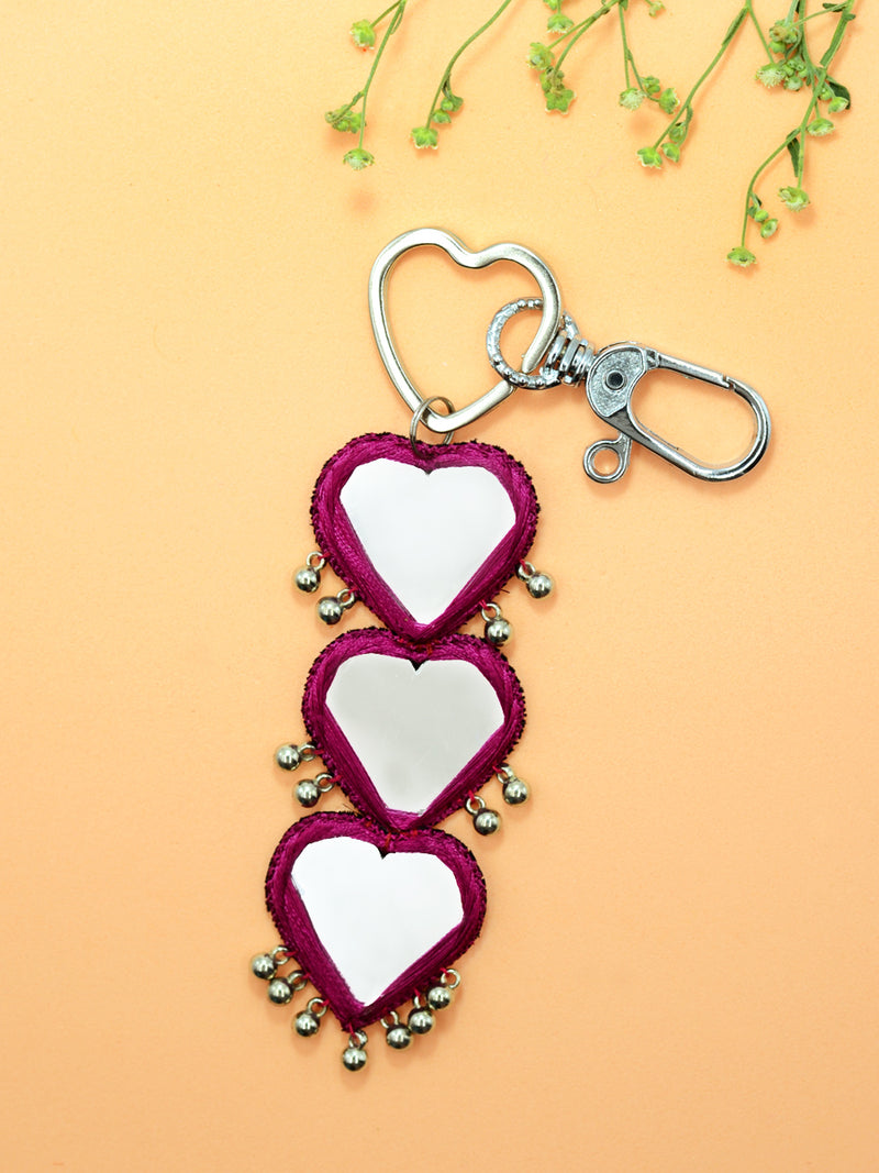 Rani Noor Mirrors Keychain Bagcharm, a handcrafted keychain bag charm with mirrors and ghungroo from our designer collection of hand embroidered keychain and bag charms online.