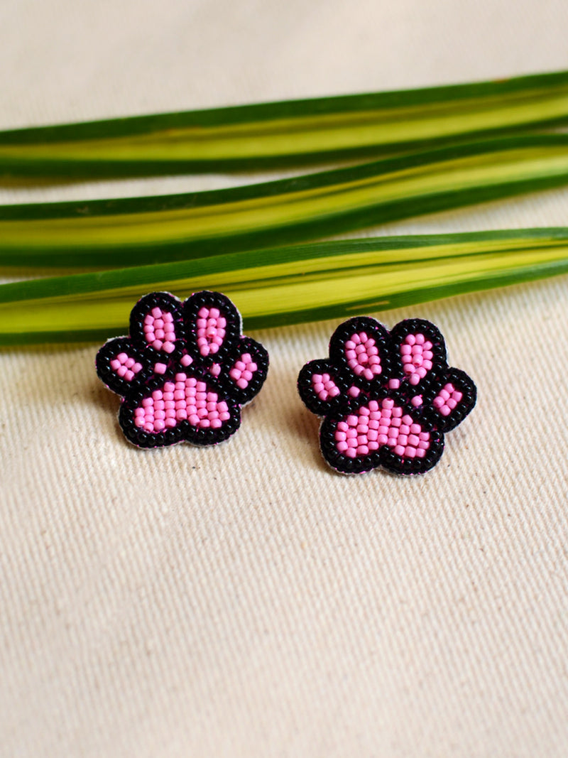 Paw Bead Earrings, a handcrafted earring with handmade beads from our designer hand embroidered collection of earrings for women.