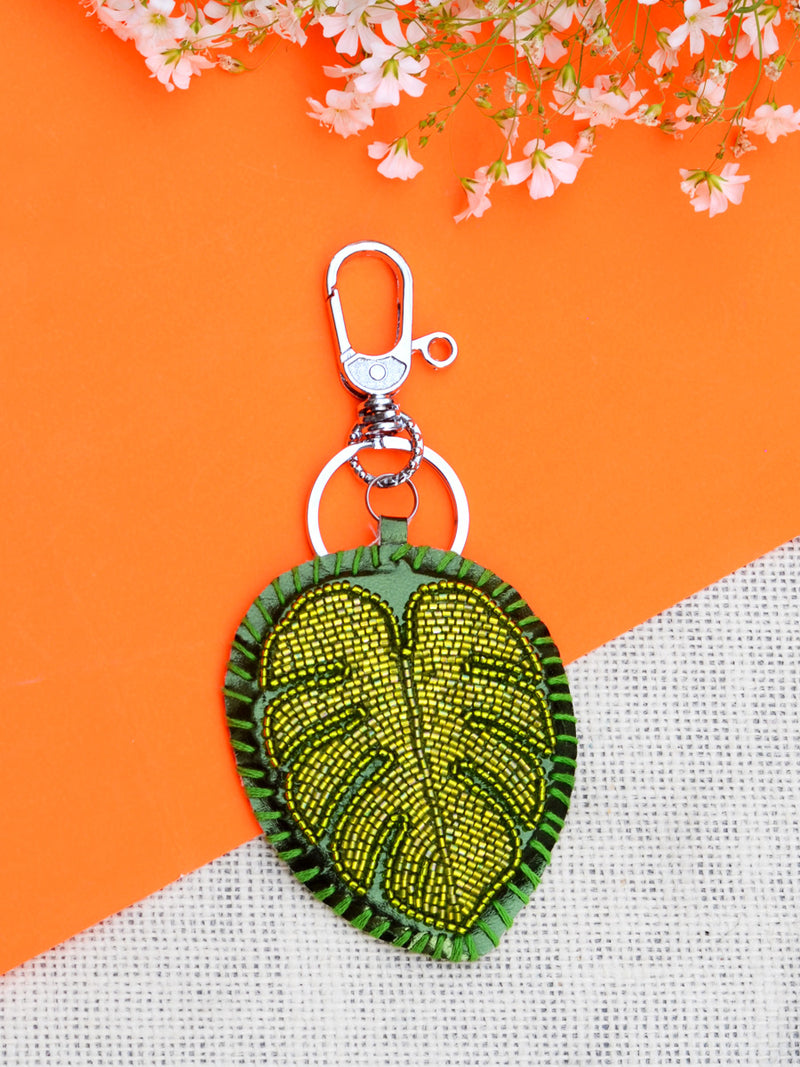 Jungle Leaf Keychain Bagcharm, a unique handcrafted keychain bag charm from our designer collection of hand embroidered keychain and bag charms online.
