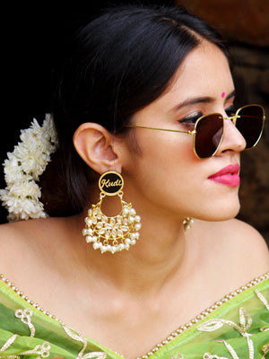 Kudi Pataka Kundan Earrings, a beautifully hand-embroidered statement earring from our designer collection of quirky, boho, Kundan earrings for women online.