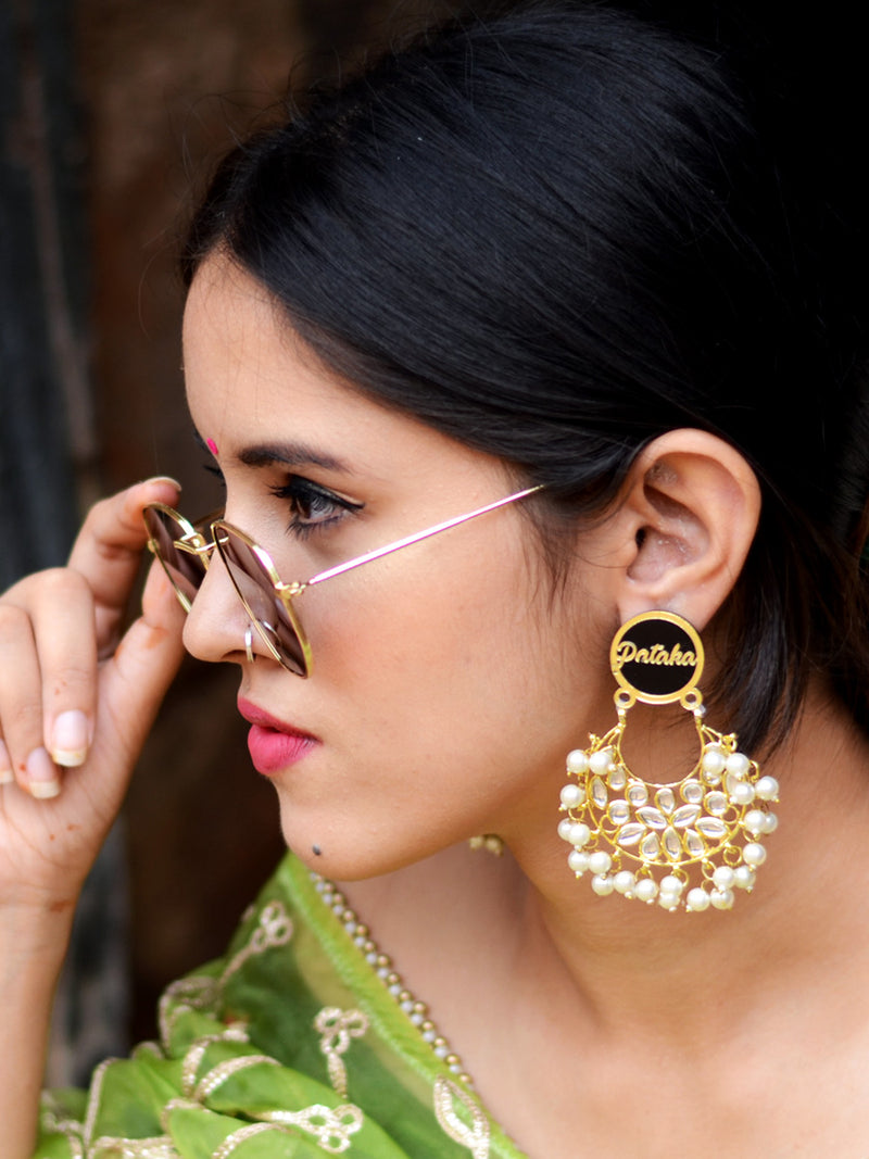 Kudi Pataka Kundan Earrings, a beautifully hand-embroidered statement earring from our designer collection of quirky kundan earrings for women.