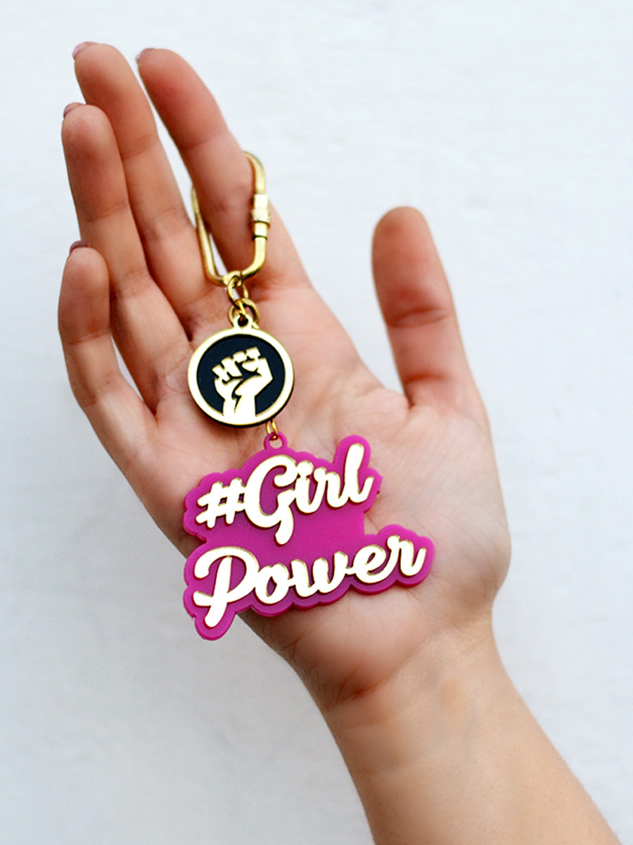 Girl Power Keychain Bagcharm, a unique handcrafted keychain bag charm from our designer collection of hand embroidered statement keychain and bag charms online.