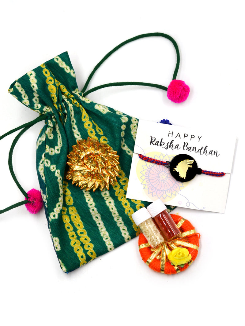 Stark House Game of Thrones Rakhi Set (Roli Chawal + Decorative Pouch)