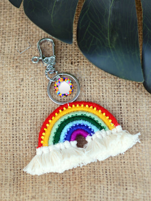 Thread Rainbow Keychain Bagcharm, a unique handcrafted keychain bag charm from our designer collection of hand embroidered keychain and bag charms online.