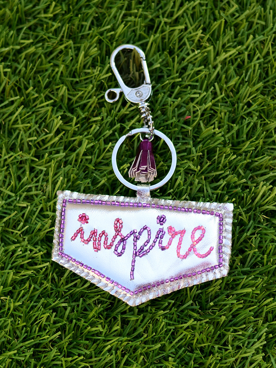 Inspire Keychain Bagcharm, a unique handcrafted keychain bag charm from our designer collection of hand embroidered statement keychain and bag charms online.