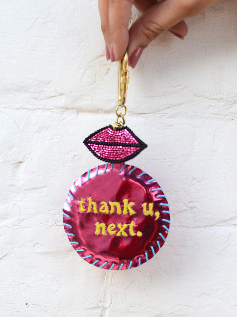 Thank U Next Keychain Bagcharm, a unique handcrafted keychain bag charm from our designer collection of hand embroidered statement keychain and bag charms online.
