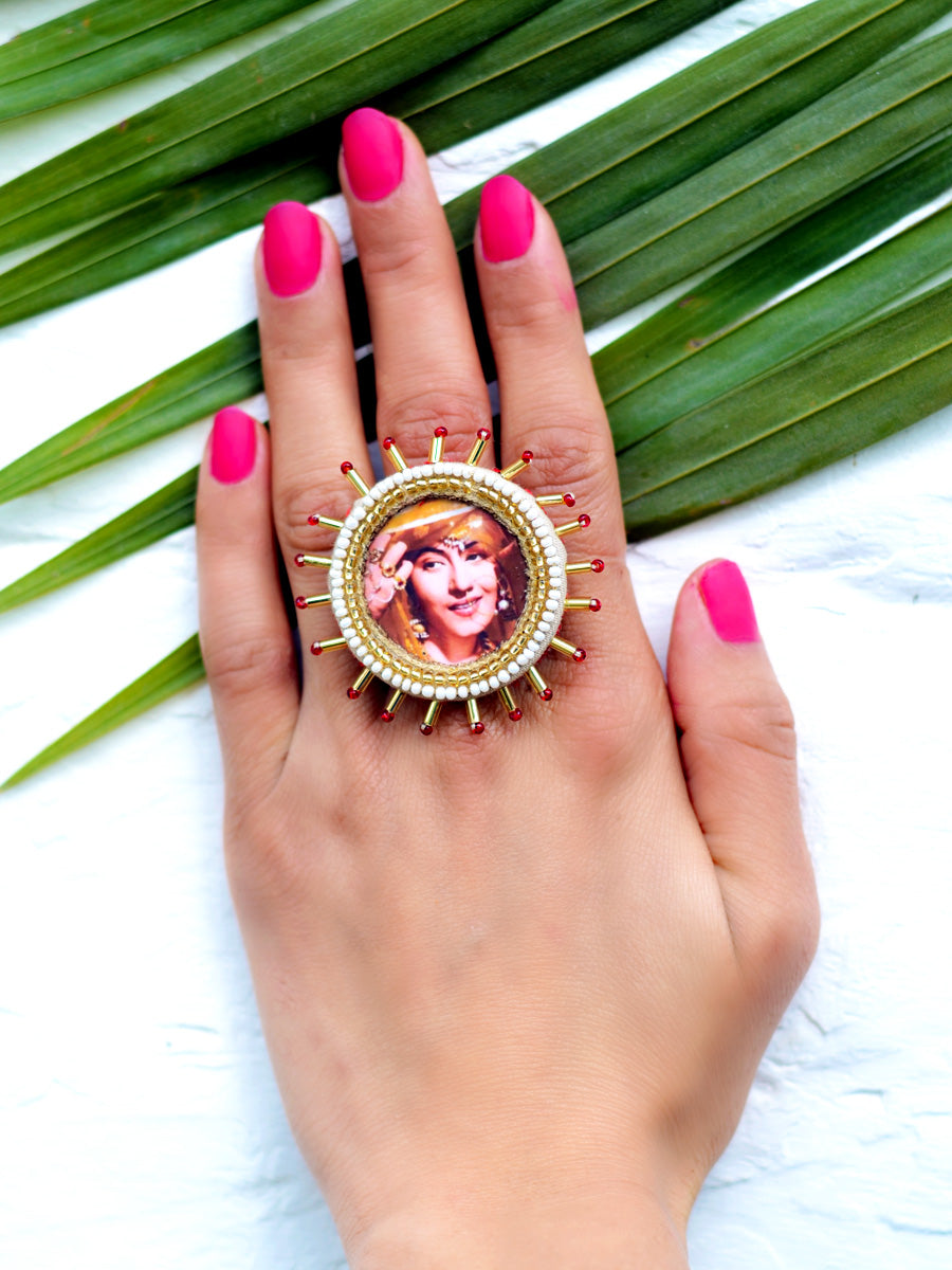 Madhubala Ring from our latest designer, quirky, hand embroidered collection of unique rings online for women. The ring comes with an adjustable size and beads detailing.