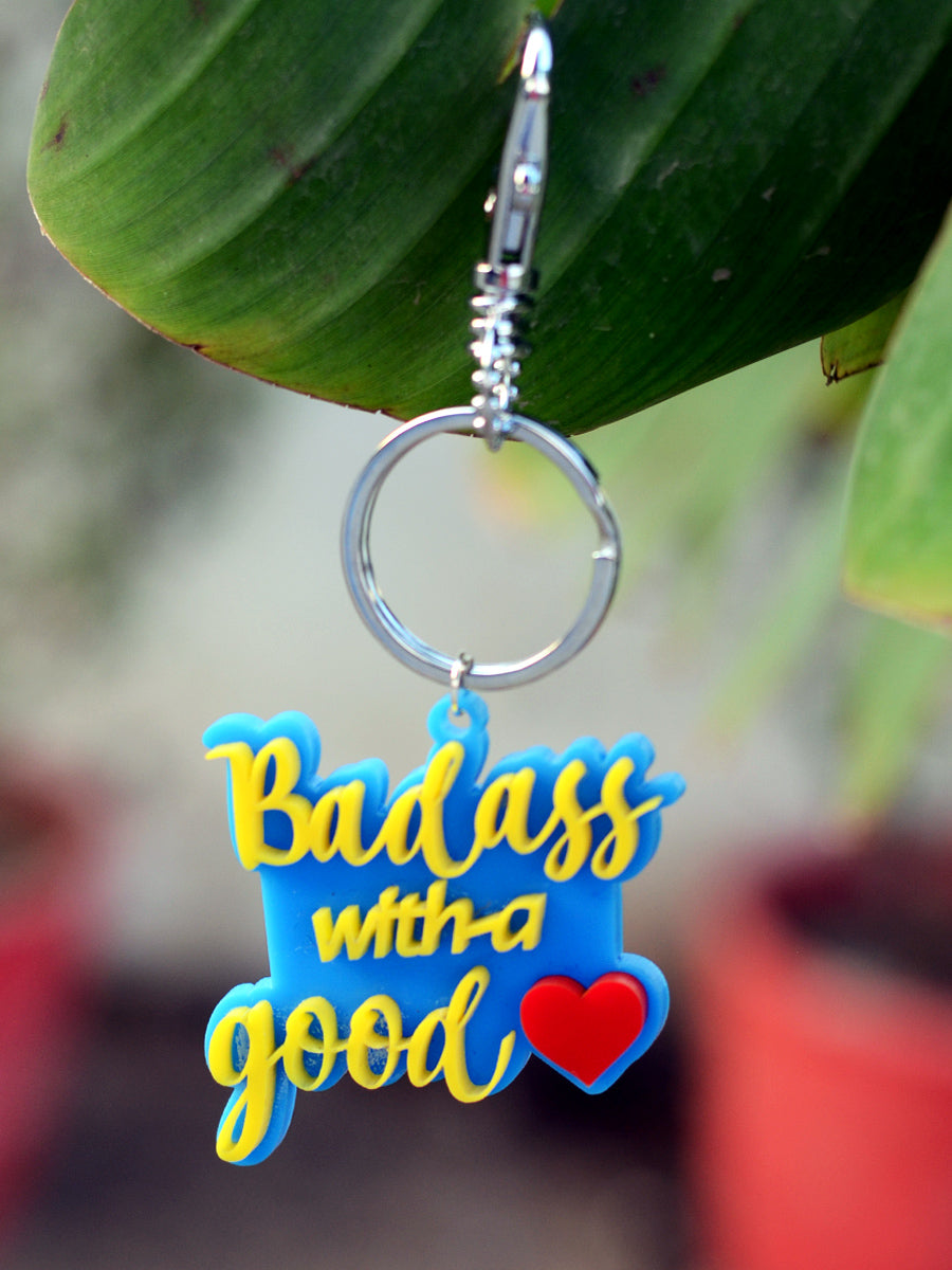 Badass with a Good Heart Keychain Bagcharm, a handcrafted keychain bag charm from our designer collection of hand embroidered keychain and bag charms.