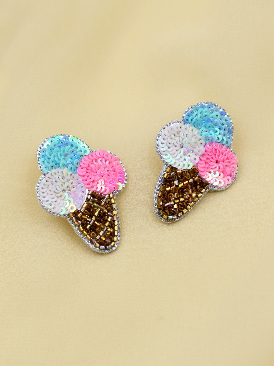 Ice-cream Sequin Earrings, a beautifully hand-embroidered earring from our designer collection of quirky, boho, Kundan and tassel earrings for women online.
