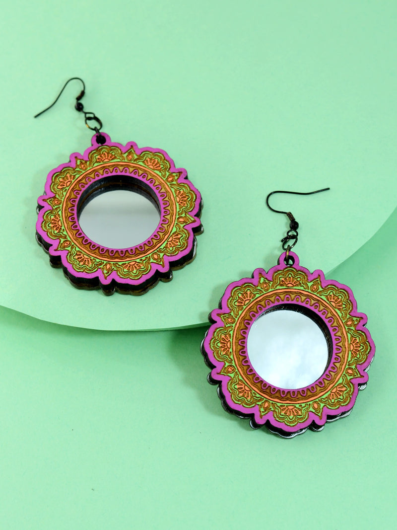 Charmer Mirror Earrings, an artistic hand painted statement earrings from our designer collection of hand embroidered earrings for women online.