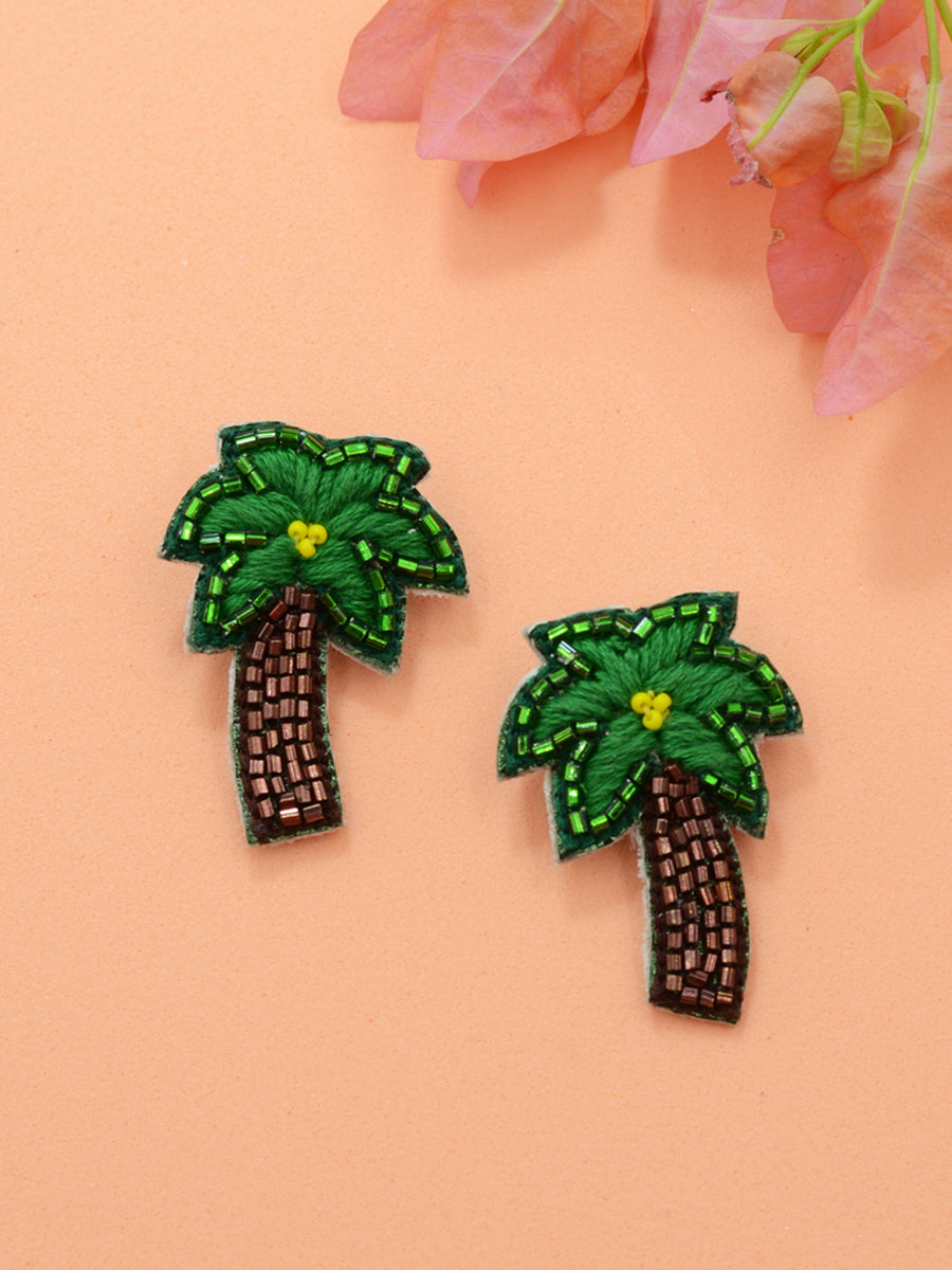 Tropical Embroidered Earrings, a beautifully hand-embroidered earring from our designer collection of quirky, boho, statement, Kundan and tassel earrings for women online.