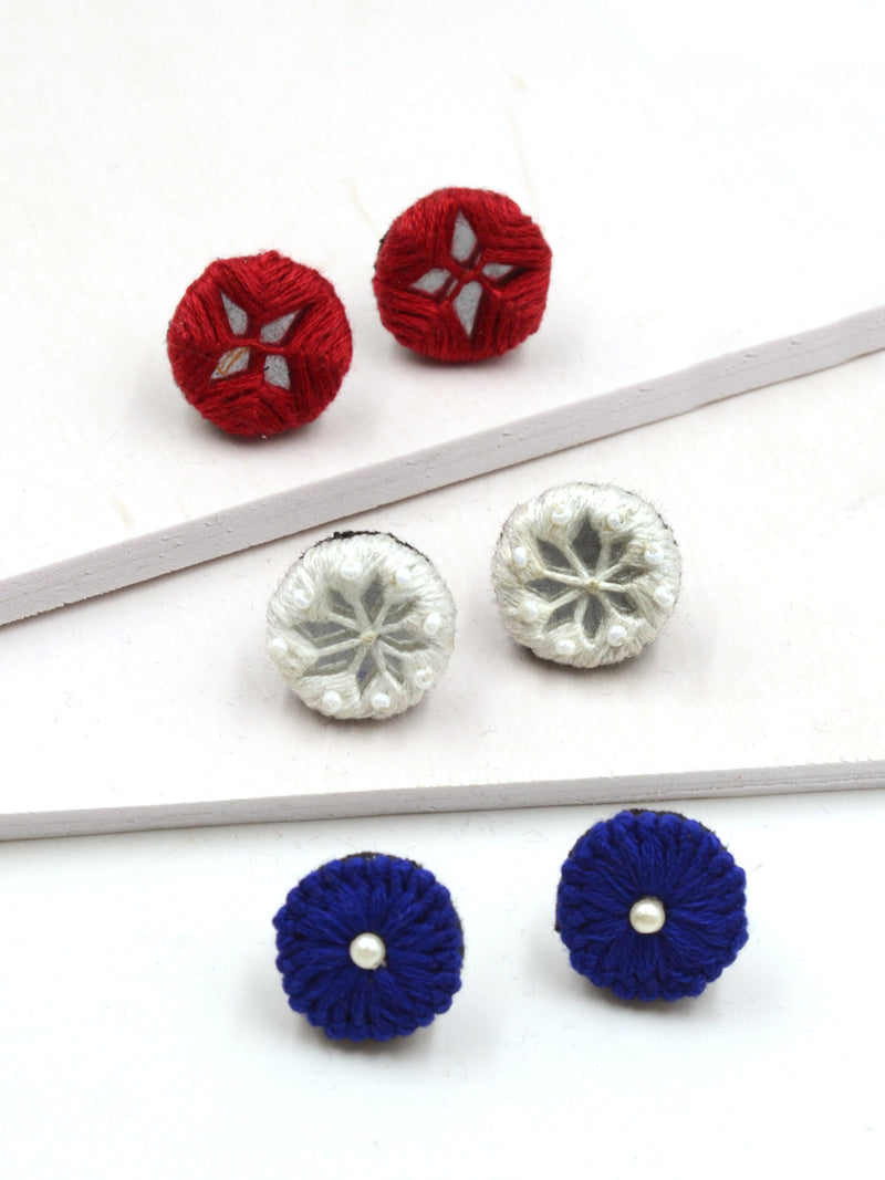 Arya Embroidered Stud Earrings Set 4