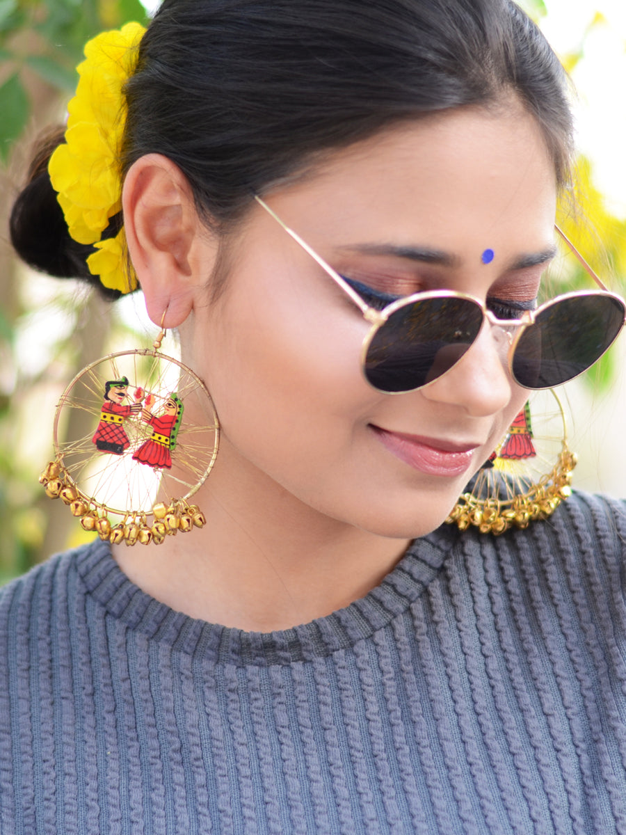 Raja Rani Hoop Earrings, a gorgeous statement earrings with ghungroo and wire detailing from our designer collection of hoop earrings for women.