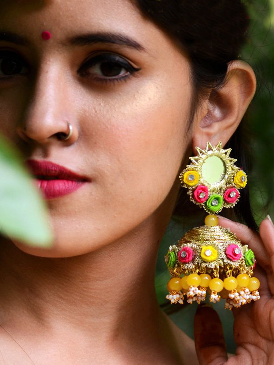 Aishwarya Earrings, a contemporary handcrafted earring from our wedding collection of Kundan, gota patti, pearl earrings for women online.