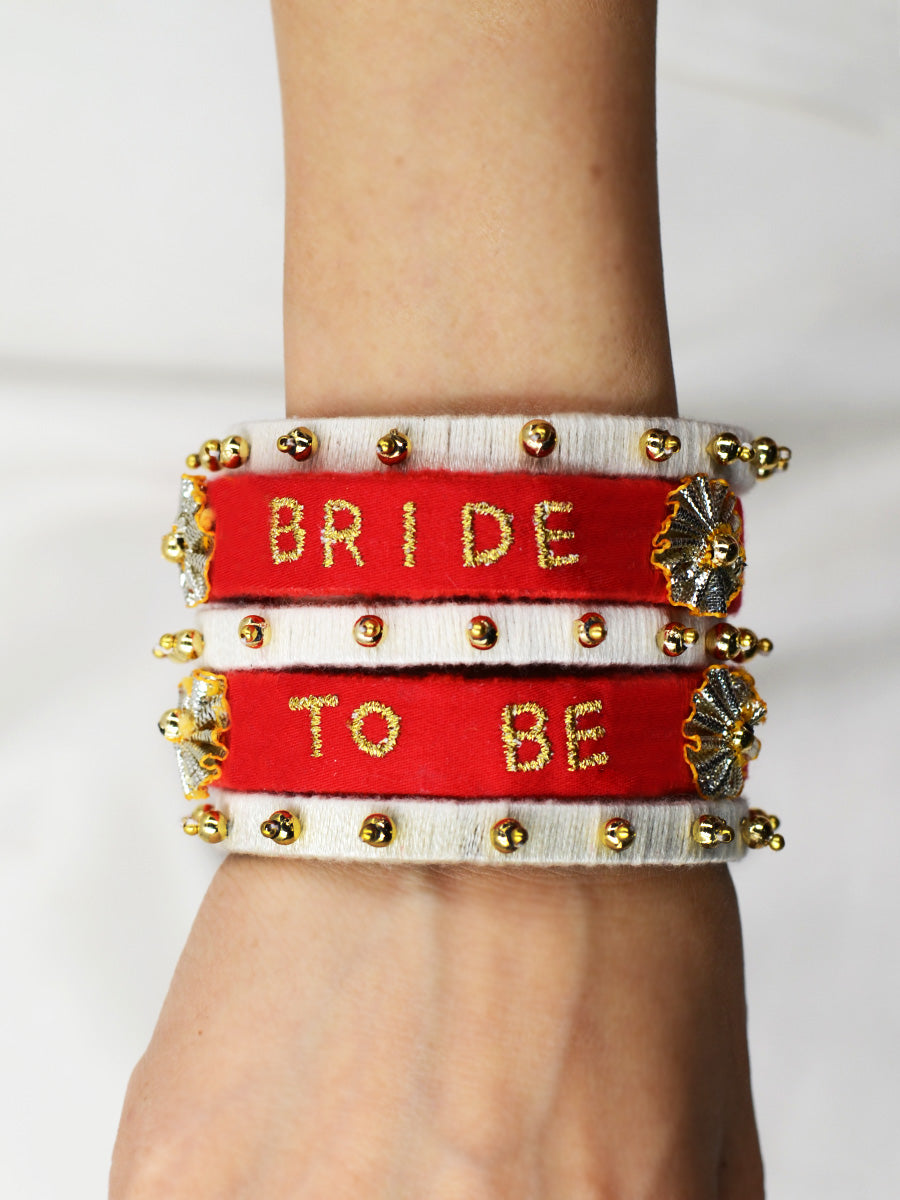 Bride to be Embroidered Bangles, a quirky, handcrafted statement bangle from our collection of hand embroidered wedding themed bangles for women.