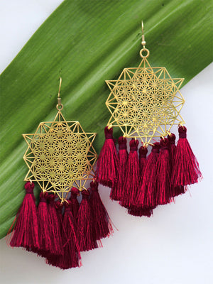 Koena Tassel Earrings, a beautiful handmade hand embroidered earring with tassel from our designer collection of earrings for women.