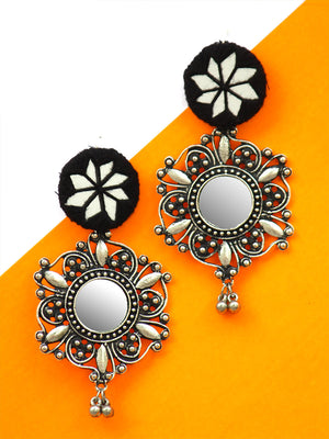 Noor Hand-embroidered Mirror Earrings, an embroidered mirror earring with silver bohemian motif from our designer collection of earrings for women.