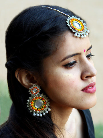 Amy Hand-embroidered Mirror Earrings