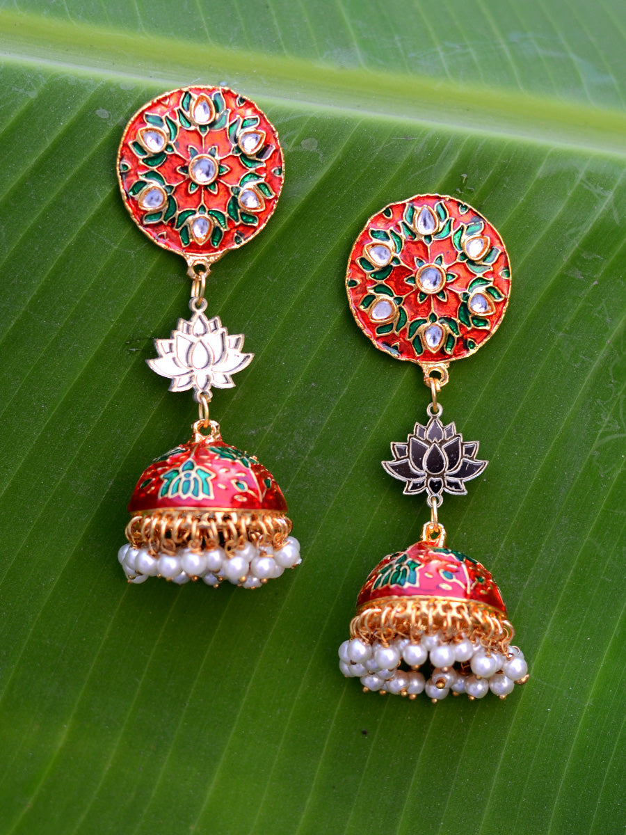 Sharmila Lotus Earrings, a contemporary handcrafted earring from our wedding collection of Kundan, gota patti, pearl earrings for women.