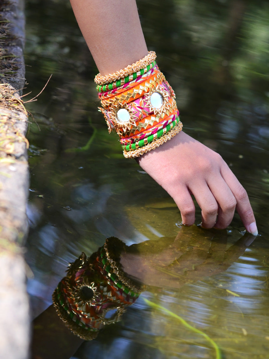 Nargis Gota Bangles (Orange-Green), a unique designer, handcrafted bangle from our latest wedding collection of hand embroidered, kundan, gota, zari and pearl bangles for women.