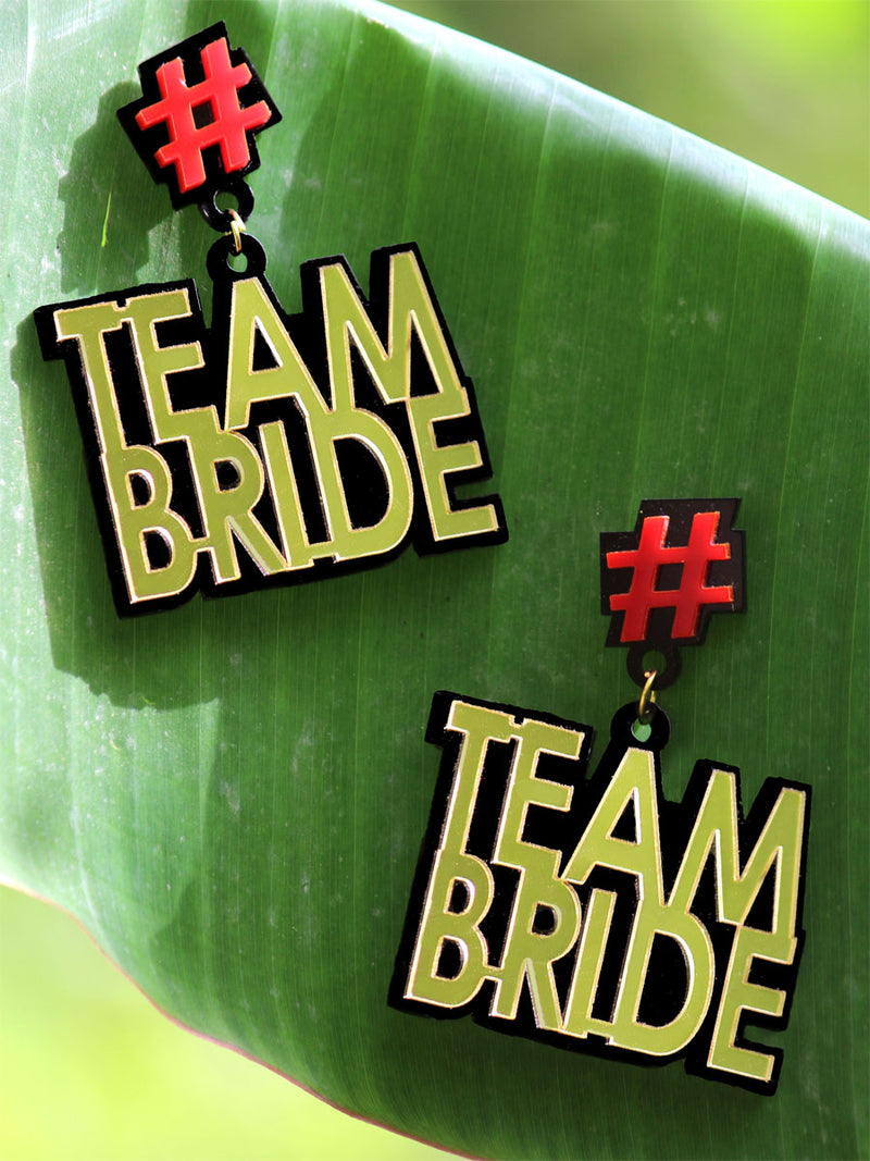 Team Bride Earrings, a quirky, unique, statement party-wear earrings from our designer collection of earrings for women online.