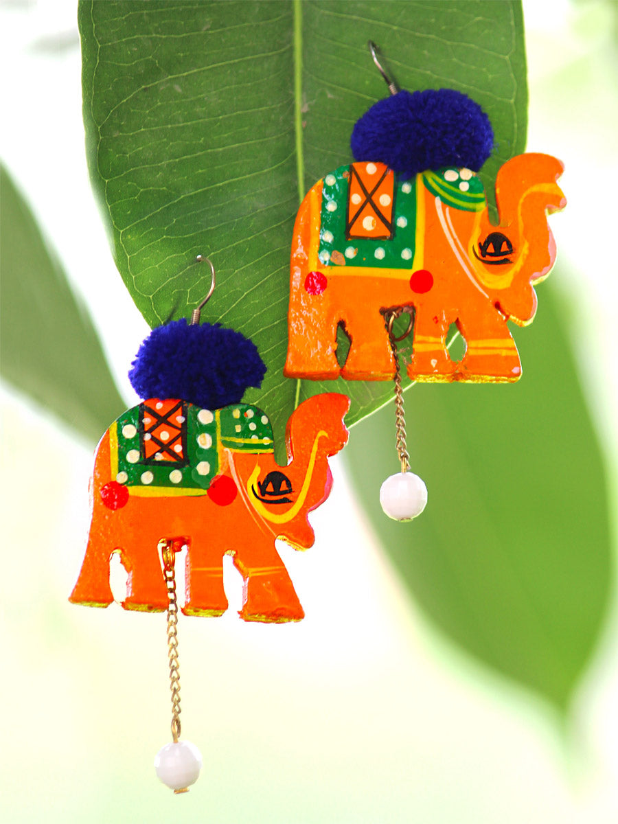 Elephant Pop earrings, a handmade hand painted designer pom pom earrings from our quirky collection of earrings for women online.
