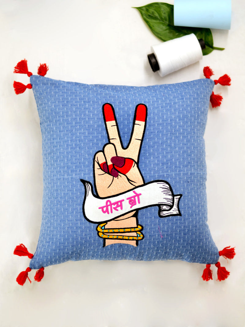 Peace Bro Cushion Cover, a unique hand embroidered cotton cushion cover with tassel detailing from our wide range of quirky, bohemian home decor products like ethnic cushion covers, thread art, wall decor & wall art and more.