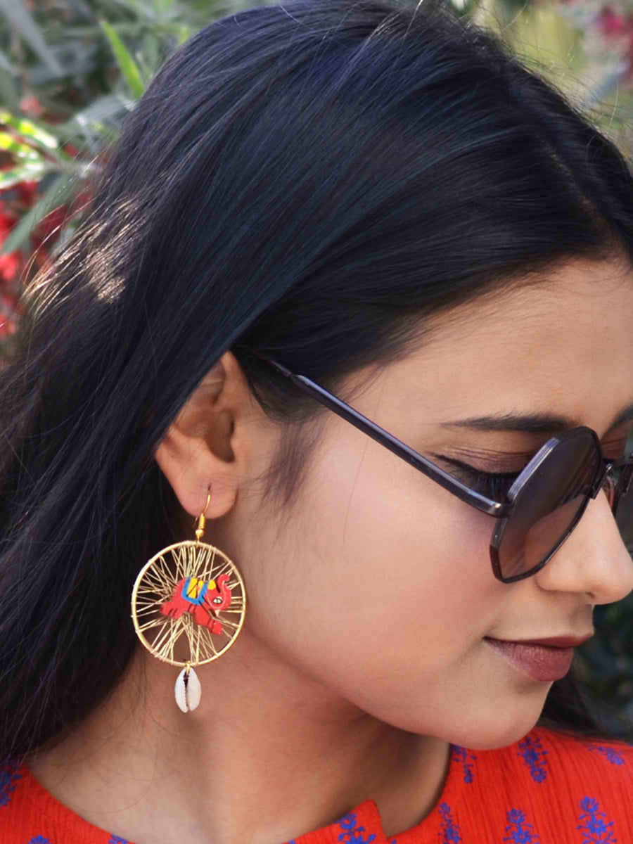 Elephant shell Earrings, a chic hand embroidered shell earrings from our designer collection of earrings for women.