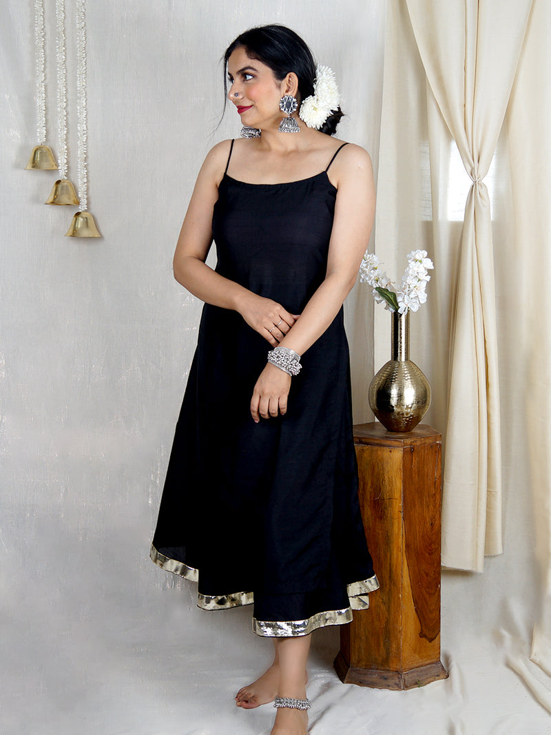 Zaida Silk Kurta Set with Silk Skirt - Black (Set of 2)