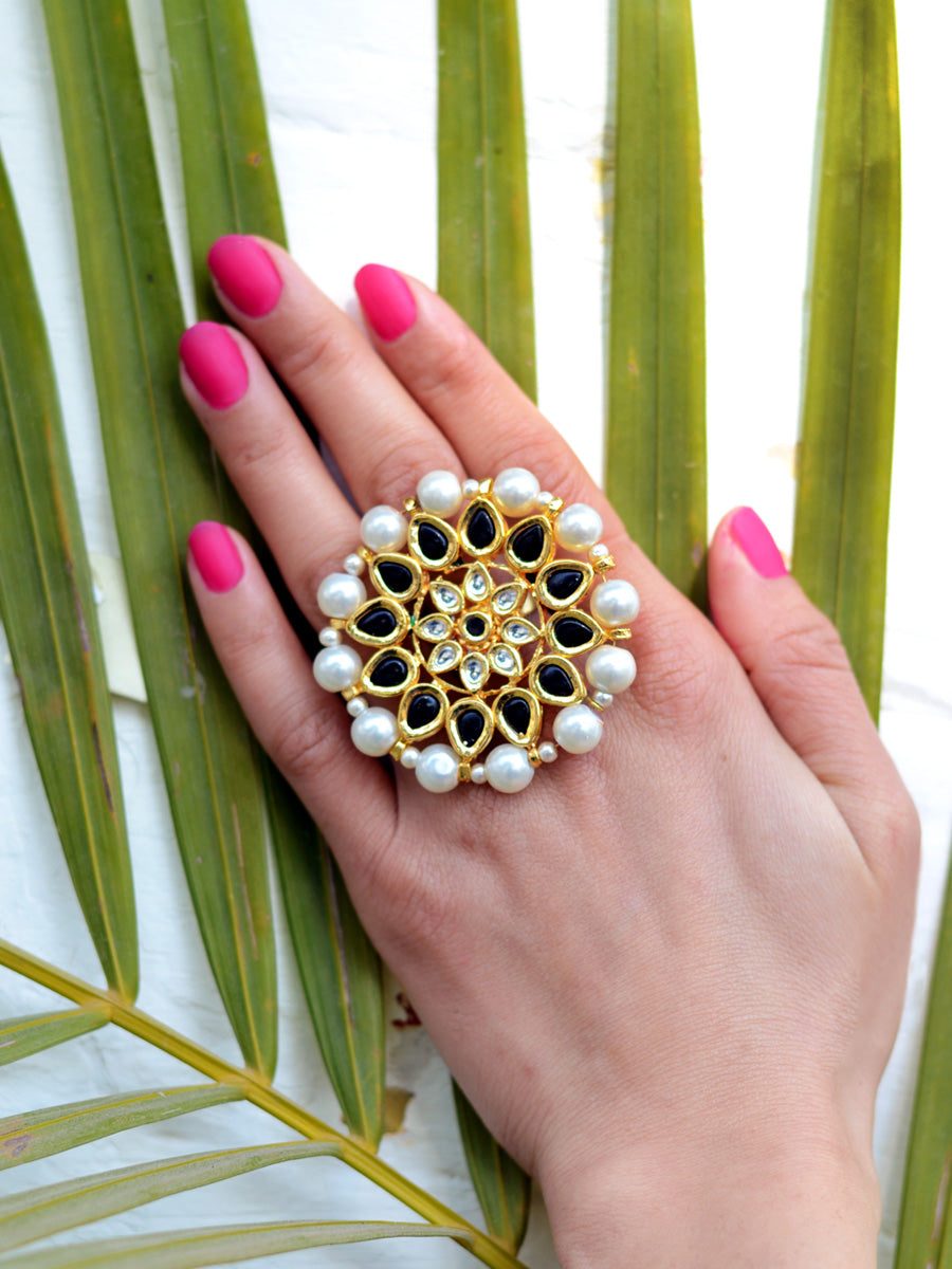 Damini Kundan Ring, one of our designer pearl kundan rings from our latest collection of rings for girls online.
