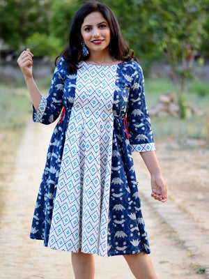 Nohra Indigo Dress, a hand embroidered ultra chic dress from our latest designer collection of boho and ethnic dresses for women online.