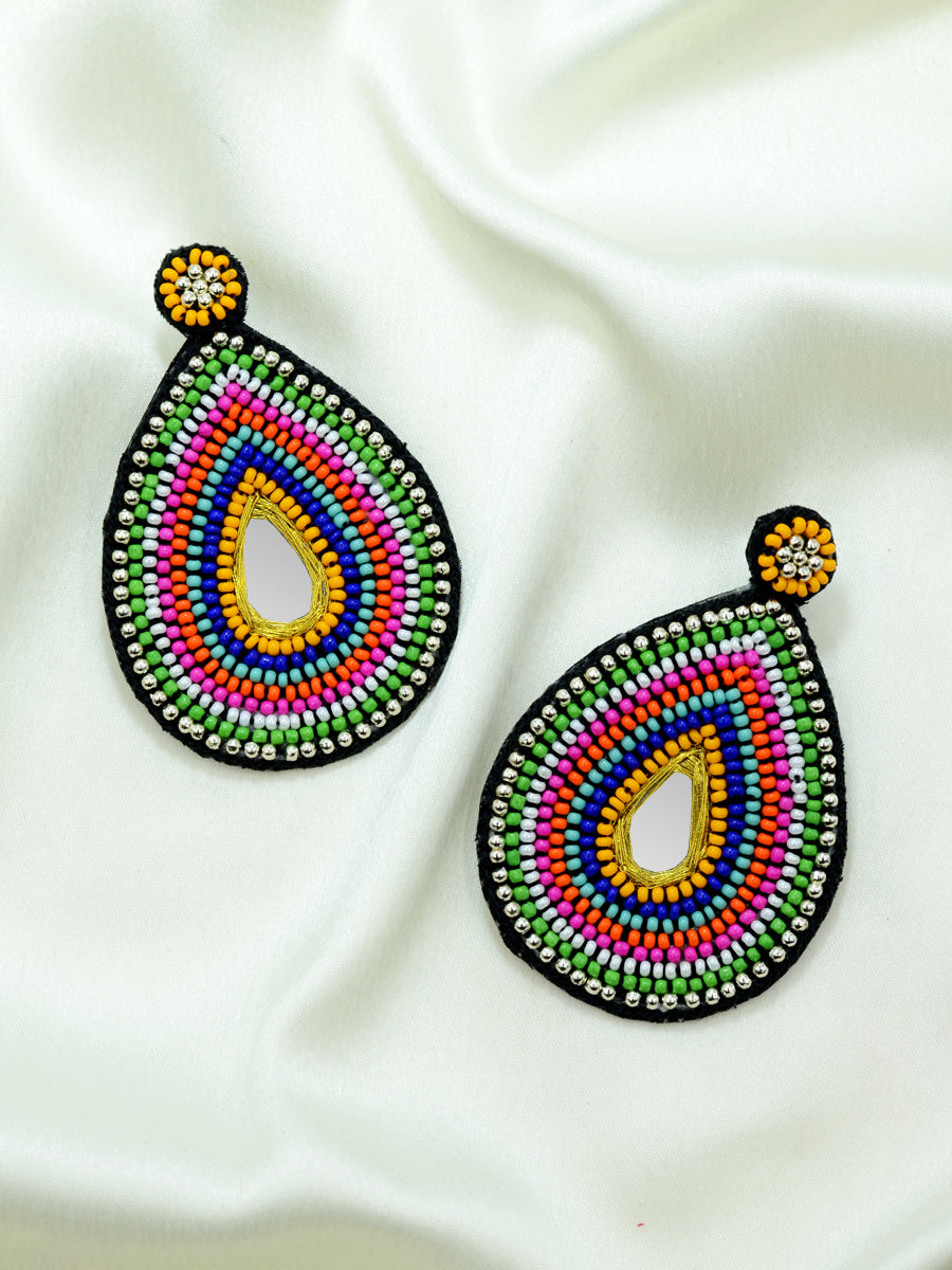 Alia Hand-embroidered Earrings, a contemporary handcrafted earring from our wedding collection of hand embroidered, gota patti and pearl earrings for women online.