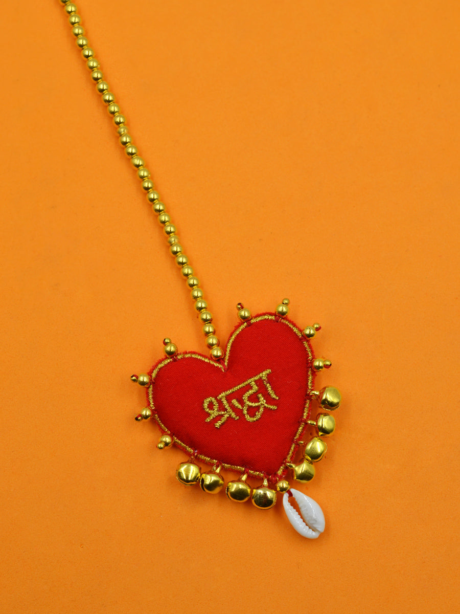 Customised Maang Tikka (Dulhania Heart Embroidered Shell Style)