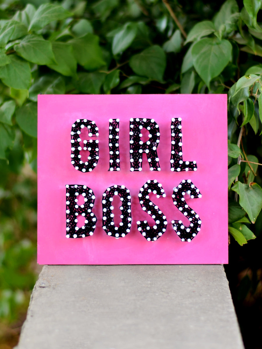 Girl Boss Thread Art, a unique handcrafted thread art from our wide range of quirky, bohemian home decor products like cushion covers, wall decor & wall art, wooden coasters, keychain holders and more.