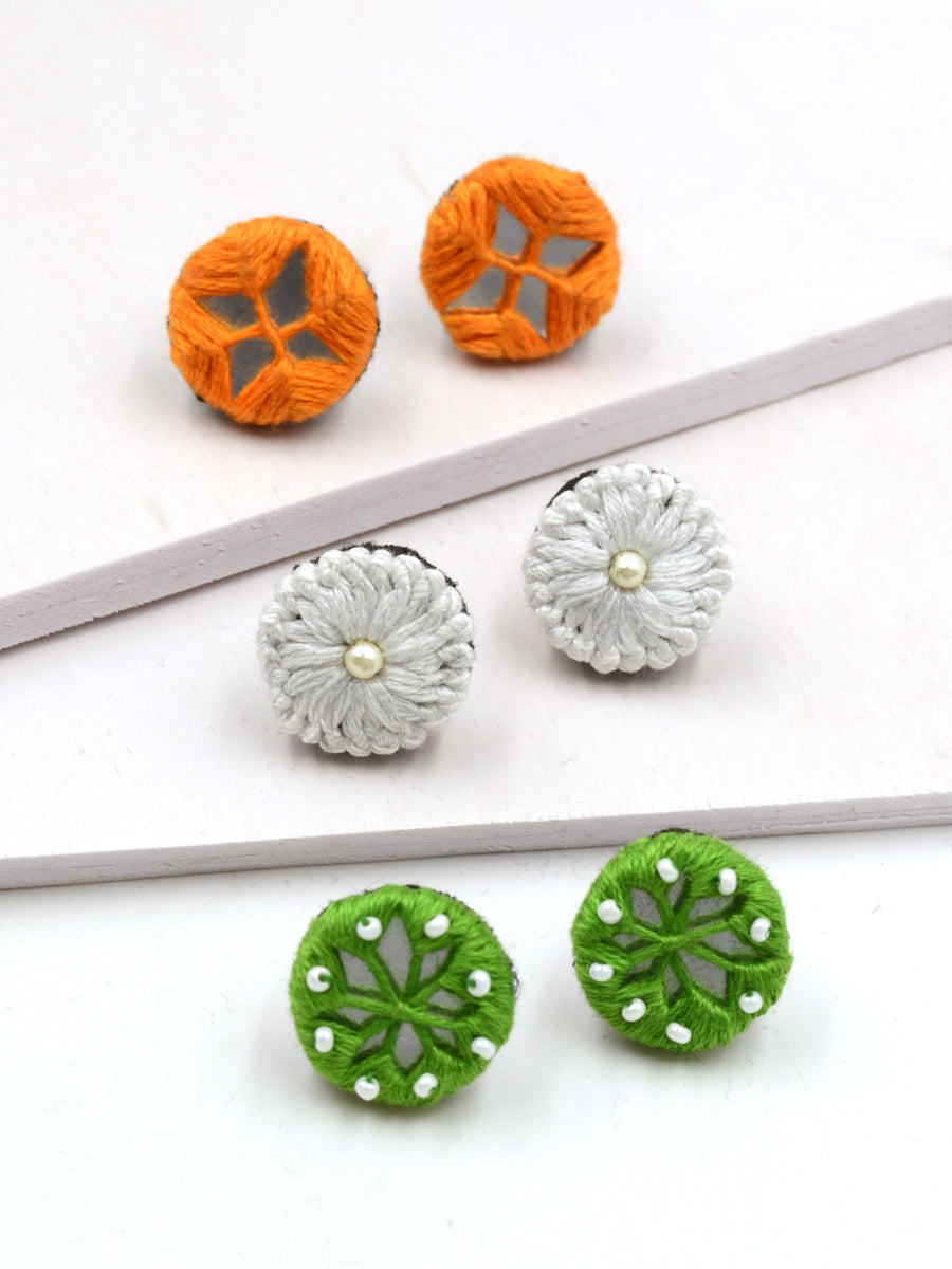 Arya Embroidered Stud Earrings Set 5