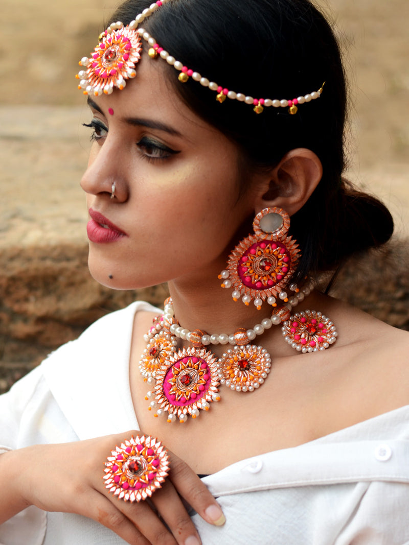Nutan Gota Patti Pearl Necklace Set