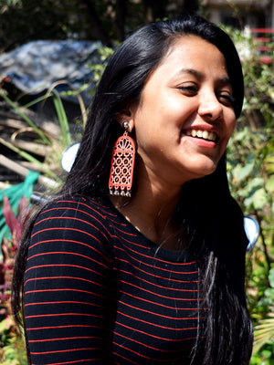 Darpan Mirror Hand-painted Earrings, a hand painted designer earring with mirror and ghungroos from our designer collection of quirky, handmade earrings for women.