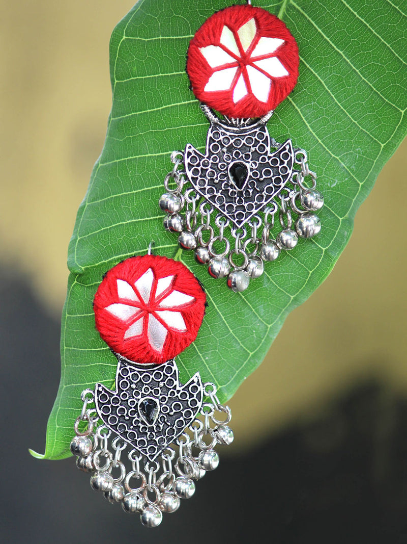 Rihana Hand-embroidered Mirror Earrings, an embroidered mirror earring from our designer collection of earrings for women.