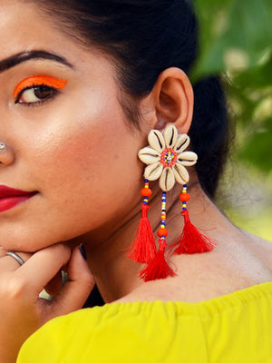 Beach Beauty Shell Earrings, a chic hand embroidered shell earrings from our quirky designer collection of earrings for women online.