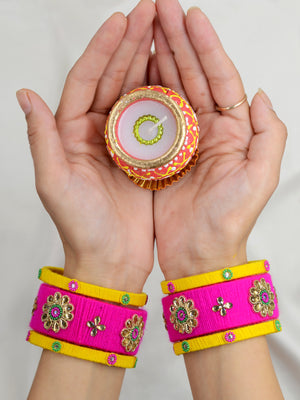 Karva Kundan Bead Bangles, a designer, handcrafted gota bangle set from our latest hand embroidered kundan bangles for women.