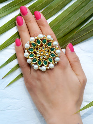 Damini Kundan Ring, one of our unique pearl kundan rings from our designer collection of rings for girls online.