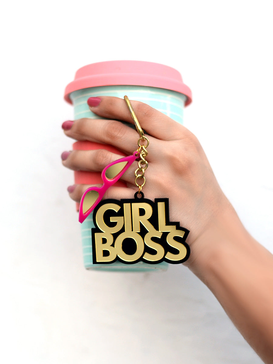 Girl Boss Keychain Bagcharm, a handcrafted keychain bag charm from our designer collection of hand embroidered statement keychain and bag charms online.